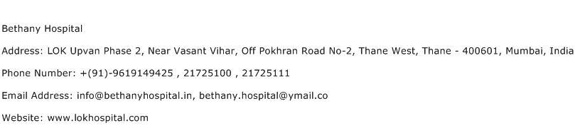Bethany Hospital Address Contact Number