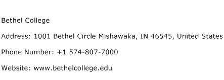 Bethel College Address Contact Number