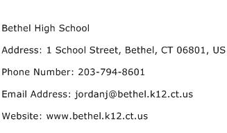 Bethel High School Address Contact Number