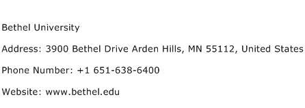 Bethel University Address Contact Number