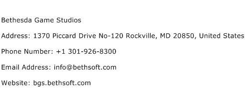 Bethesda Game Studios Address Contact Number