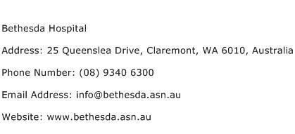Bethesda Hospital Address Contact Number