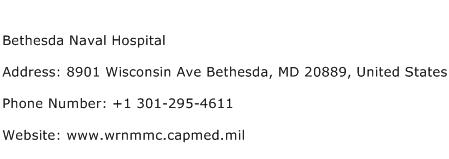 Bethesda Naval Hospital Address Contact Number