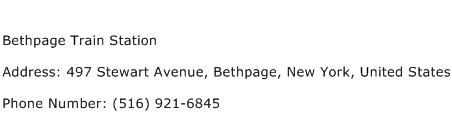 Bethpage Train Station Address Contact Number