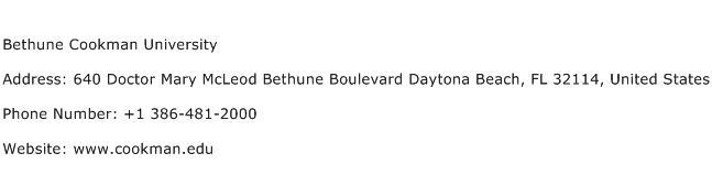 Bethune Cookman University Address Contact Number