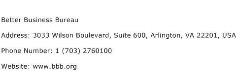 Better Business Bureau Address Contact Number