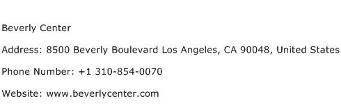 Beverly Center Address Contact Number