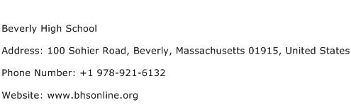 Beverly High School Address Contact Number