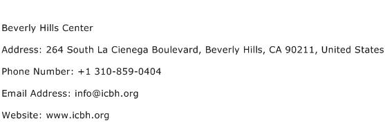 Beverly Hills Center Address Contact Number