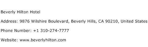 Beverly Hilton Hotel Address Contact Number