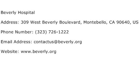 Beverly Hospital Address Contact Number