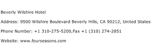 Beverly Wilshire Hotel Address Contact Number