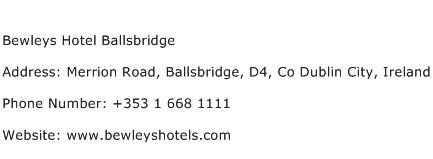 Bewleys Hotel Ballsbridge Address Contact Number