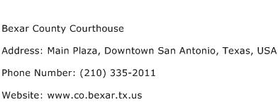 Bexar County Courthouse Address Contact Number