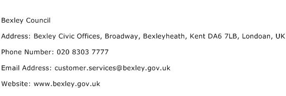 Bexley Council Address Contact Number