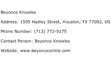Beyonce Knowles Address Contact Number
