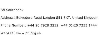 Bfi Southbank Address Contact Number
