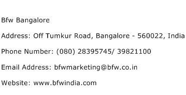 Bfw Bangalore Address Contact Number