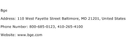 Bge Address Contact Number