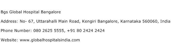 Bgs Global Hospital Bangalore Address Contact Number