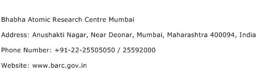Bhabha Atomic Research Centre Mumbai Address Contact Number
