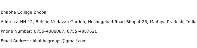 Bhabha College Bhopal Address Contact Number
