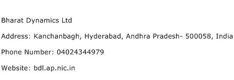 Bharat Dynamics Ltd Address Contact Number