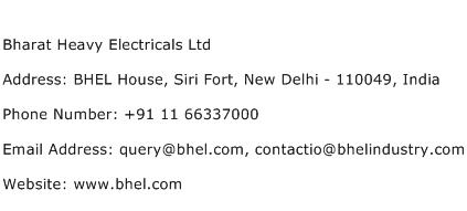 Bharat Heavy Electricals Ltd Address Contact Number