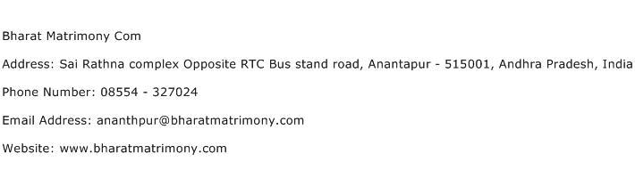 Bharat Matrimony Com Address Contact Number