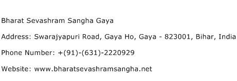 Bharat Sevashram Sangha Gaya Address Contact Number