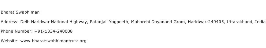 Bharat Swabhiman Address Contact Number