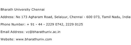 Bharath University Chennai Address Contact Number