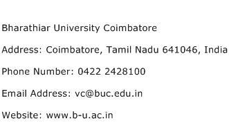 Bharathiar University Coimbatore Address Contact Number