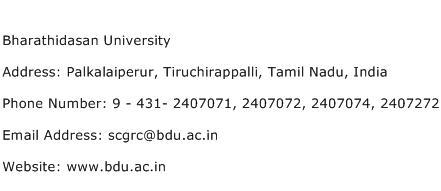 Bharathidasan University Address Contact Number