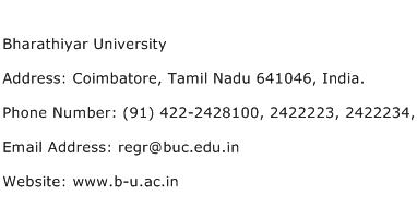 Bharathiyar University Address Contact Number