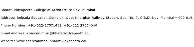 Bharati Vidyapeeth College of Architecture Navi Mumbai Address Contact Number