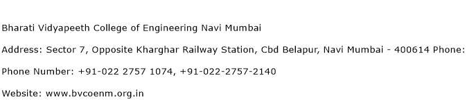 Bharati Vidyapeeth College of Engineering Navi Mumbai Address Contact Number