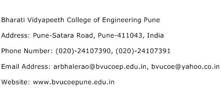 Bharati Vidyapeeth College of Engineering Pune Address Contact Number