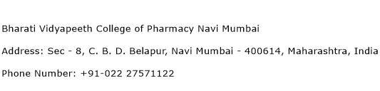 Bharati Vidyapeeth College of Pharmacy Navi Mumbai Address Contact Number
