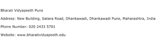 Bharati Vidyapeeth Pune Address Contact Number