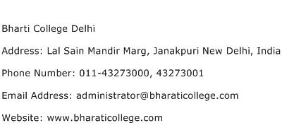 Bharti College Delhi Address Contact Number