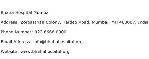 Bhatia Hospital Mumbai Address Contact Number
