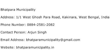 Bhatpara Municipality Address Contact Number