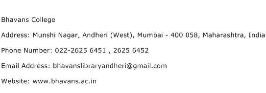 Bhavans College Address Contact Number