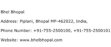 Bhel Bhopal Address Contact Number