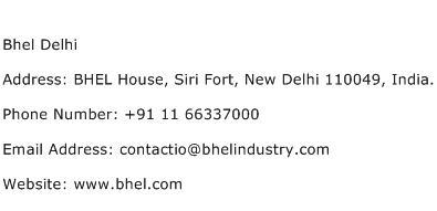Bhel Delhi Address Contact Number