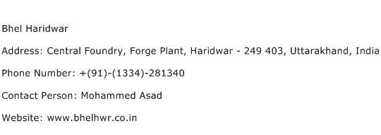 Bhel Haridwar Address Contact Number