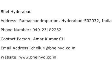 Bhel Hyderabad Address Contact Number