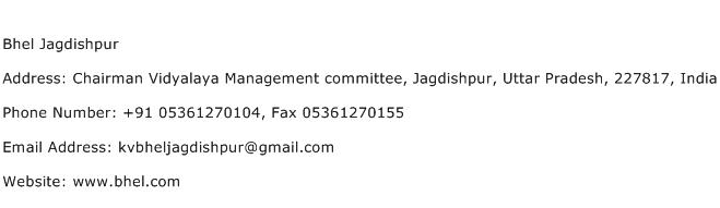 Bhel Jagdishpur Address Contact Number