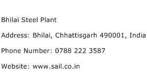 Bhilai Steel Plant Address Contact Number